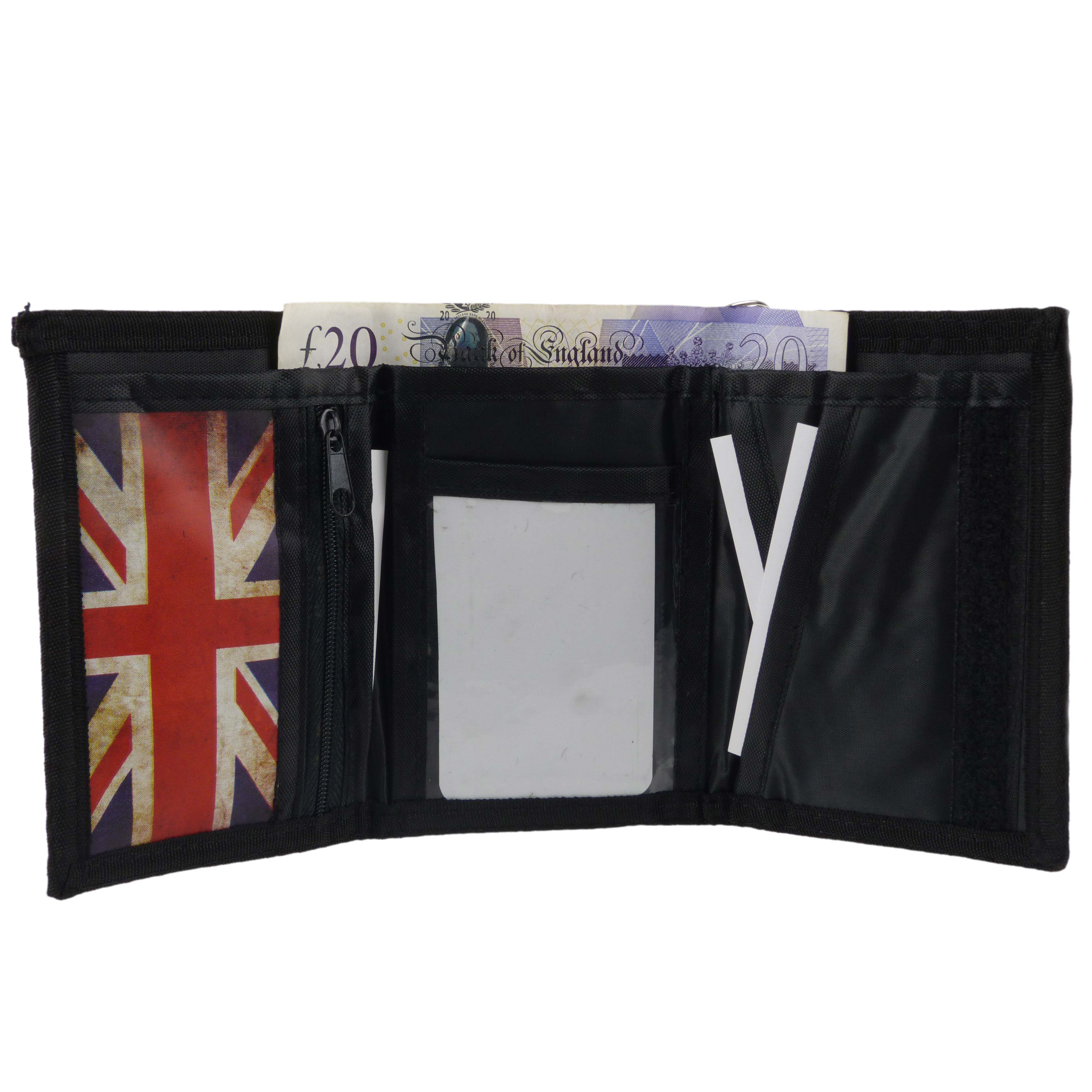 Unknown Mens Union Jack Tri-Fold Wallet With Chain Clip British Uk Flag