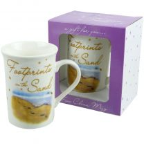 Footprints in the Sands Mug with Message Gift Boxed Religious Christian Jesus