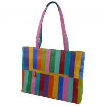 Ladies Leather Colourful Tote/Work Bag by Ili New York Rainbow