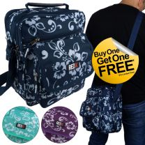 SPECIAL BOGOF - RED-X Mens Womans Funky Hibiscus Canvas Cross Body Utility Bag Surf Beach Travel