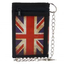 Mens Boys Union Jack Tri-Fold Wallet with Chain Clip British UK Flag