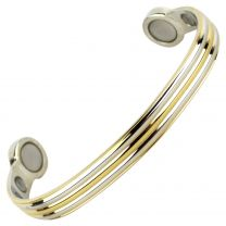 Super Strong MAGNETIC Bracelet/Bangle Gold & Chrome DESIGN 6 Magnets Health Rare Earth NdFeB