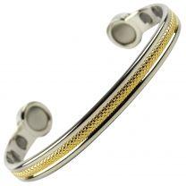 Super Strong MAGNETIC Bracelet/Bangle Gold & Chrome Patterned DESIGN 6 Magnets Health Rare Earth NdFeB