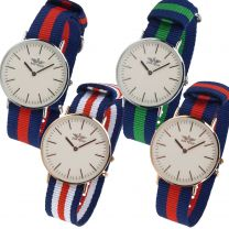 Mens Stylish Classic Nylon  Retro Strap Watch by Softech Military Two-Tone Slim