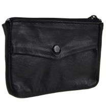 Mens Womens Soft Black Leather Key/Coin Purse by Lorenz Change Chain Handy