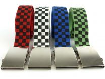 Webbing Chequered CANVAS BELT Unisex Mens Boys Goth Punks Skaters Teens Stylish