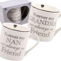 Heart To Home White China Mug Cup 3 Designs Nan Grandma Mum L&P