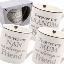 Heart To Home White China Mug Cup 3 Designs Nan Grandma Mum L&P