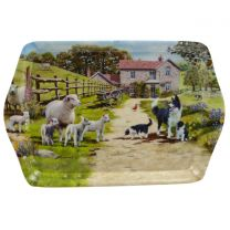 Border Collie Dog/Puppies with Sheep/Lambs By William Morris Mini Serving Tray