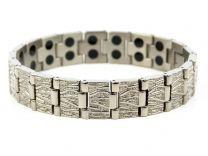Mens Bark Design Silver Finish Titanium Magnetic Bracelet Health Magnet Therapy