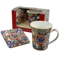 The Leonardo Collection Mug and Coaster Set Golden Lily by Wiiliam Morris