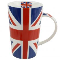 Tall Union Jack Latte China Mug Red White Blue Flag UK London Iconic Queen Cool Gift Boxed