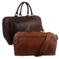 Mens Leather Weekender Holdall by Rowallan Travel Overnight Bag