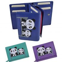 Ladies Compact Leather Purse/Wallet by Mala; Chi Chi Collection Pandas