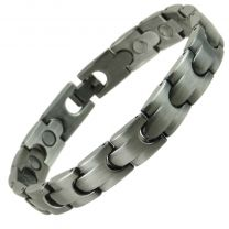 Stylish Magnetic Copper Alloy with Pewter Finish Bracelet Hi Strength NdFeB 16 Magnets Single Row Therapy