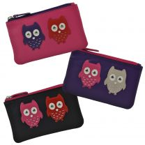 Ladies Small LEATHER Coin Purse/Wallet by Mala; Kyoto Collection Cute OWLS