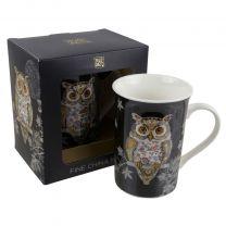 Fine China Mug With Decorative Owl Design by Bug Art Gift Boxed