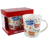 Fine China Special Friend Mug/Cup Ritz Collection Stars Colourful Birthday Gift