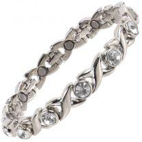 Ladies Titanium Magnetic Bracelet with Chrome & Clear Crystals Finish Stylish