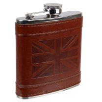 Mens 6oz Stainless Steel Hip Flask Embossed Union Jack PU leather