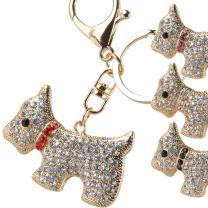 Gold & Crystal Bag Charm/Keyring Westie Dog West Highland Terrier Faux Gems 4 Colours Bling