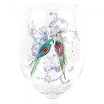 Beautiful Single Wine Glass, Silver Moon Parrot Design Gift Birthday Romantic Gift TURNoWSKY Gift Boxed