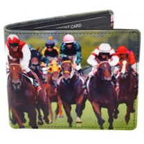 Mens Leather Horse Racing Bi-Fold Wallet by Retro Gift Box Grand National