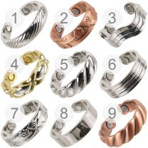 Mens Ladies Copper Chrome Gold Plated  Magnetic Ring Adjustable Unisex Magnet Therapy NdFeB