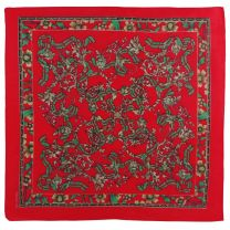 Red Cotton Tartan Ribbon and Thistle Bandana with Floral Border