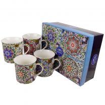 Gift Box Set of 4 China Mugs/Cups Mandalay Design by The Leonardo Collection