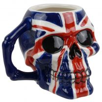 Union Jack United Kingdom Britain Hand Painted Skull Mug Gift Boxed