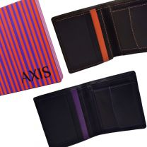 Mens Quality Leather Wallet by Mala; Axis Collection Gift Boxed Stylish