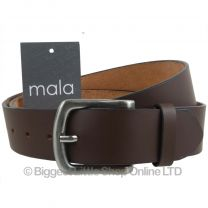 "Mens Brown 1.5"" Wide Leather Belt by Mala Leather; Jeans Collection up to 48"""