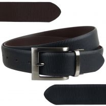 "Mens Reversible 1.25"" Wide Leather Belt by Mala Leather; Striped Collection up to 48"""