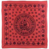 "Buddha Red Bandana/Bandanna Scarf 100% Cotton Meditation Sanskrit Dharma 24""x24"""