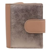 PrimeHide Leather Ladies Small Metallic Rose Gold Trifold Purse Wallet