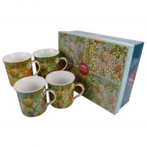 Gift Box Set of 4 China Mugs/Cups Golden Lily Design by The Leonardo Collection