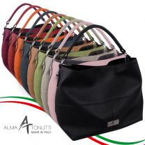 Alma Tonutti Stylish Ladies Leather Slouch Shoulder Bag Made in Italy Cross Body Strap