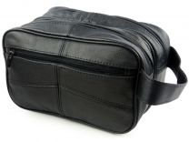 New Mens Oakridge Black Cowhide Leather Wash Bag Travel Toiletries 2 Sections