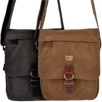 Mens Ladies Canvas Leather Cross Body Bag by Troop of London Utility Travel