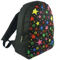 Boys Girls Black Multi Colour Stars Backpack Rucksack School Bag Travel