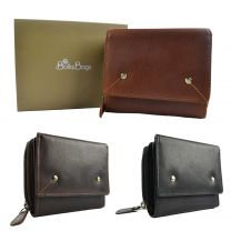 Compact Ladies Leather Flap Over Purse/Wallet by Bolla Bags Gift Boxed Handy