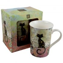 Fine China Mug With Patterned Cat Design by Bug Art Boxed