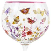 Jennifer Rose Butterfly Garden Tall Gin Glass Flowers Ladybird