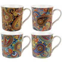 Gift Box Set of 4 China Mugs/Cups Paisley Design by The Leonardo Collection