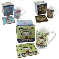 Fine China Classic Retro Coffee Mug/Cup & Coaster Set by Leondaro Supplied in Gift Tin