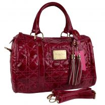 Ladies Faux Leather Grab Bag Handbag by Claudia Canova Fuchsia