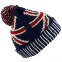 Mens Unisex UK Pull Over Union Jack Bobble Hat One Size Red White Blue London