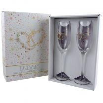 Pair of Champagne Flutes, Wedding Rings - Engagement, Anniversary Gift Romantic TURNoWSKY Gift Boxed