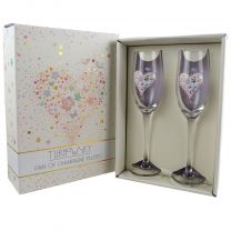 Set Of Two Champagne Flutes, Wedding, Engagement, Anniversary Gift Romantic Present TURNoWSKY Gift Boxed